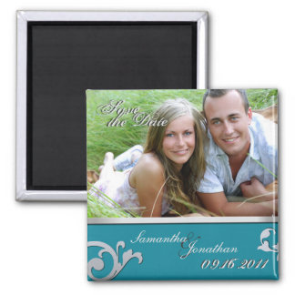 Save the Date Turquoise & Silver Sparkle Magnet