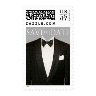 SAVE the DATE Tux, Gray Postage