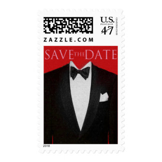 SAVE the DATE Tux, Red Postage