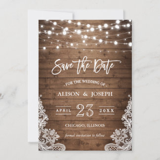 Save The Date - Twinkle Lights Rustic Wood Lace