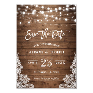 Save The Date - Twinkle Lights Rustic Wood Lace Card