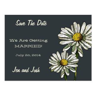 Save The Date: Two Bright Daisies, Original Art Postcard