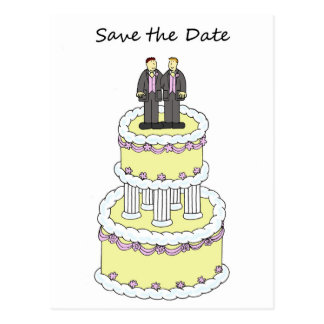 Save the date, two gay grooms on a cake postcard