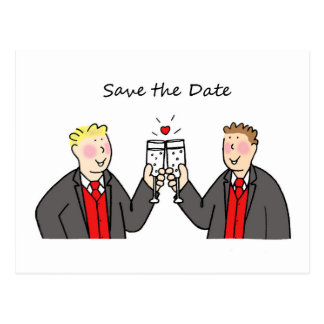 Save the date , two grooms in matching outfits, postcard