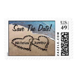 Save The Date Two Hearts In Sand Postage Stamps