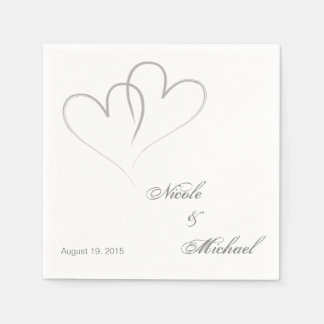 Save The Date - Two hearts intertwined Paper Napkin