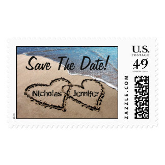 Save The Date Two Hearts Sand Beach Postage Stamps