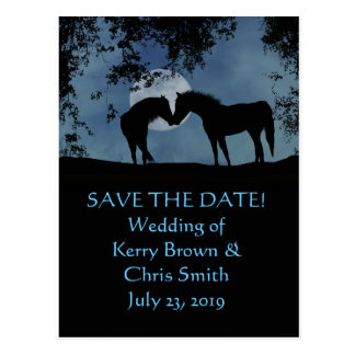 Save the Date two Horses in Moonlight Postcard