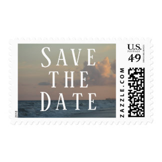 Save the Date Typography w/ Beach Dusk Photo Postage