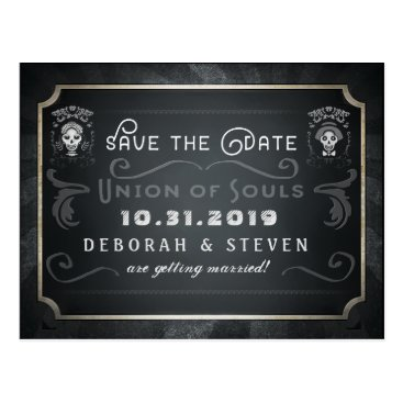 Halloween Themed Save the Date Union of Souls Skeletons Wedding Postcard