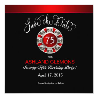 Save the Date Vegas Casino Chip | red silver black Card