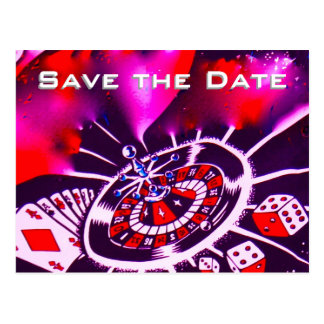 Save the Date Vegas Casino Wedding Purple Passion Postcard