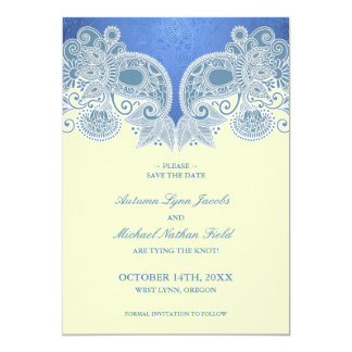 "Save the Date Victorian Blue Floral Flat Card 5"" X 7"" Invitation Card"