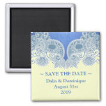 Save the Date Victorian Blue Floral Magnet