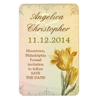 save the date victorian vintage tulip magnets