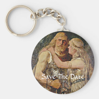 Save The Date Viking Couple Key Chain
