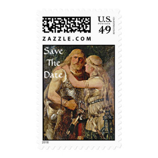 Save The Date Viking Couple Postage Stamp