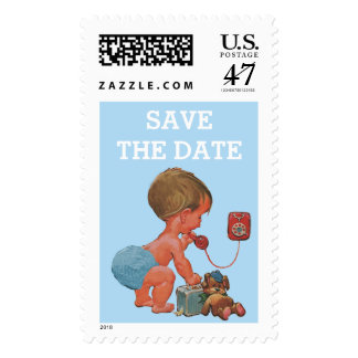 Save The Date Vintage Boy on Phone Baby Shower Postage