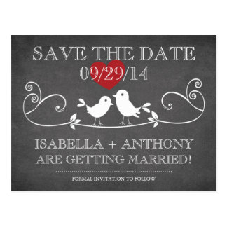 SAVE THE DATE Vintage Chalkboard Love Birds Postcard