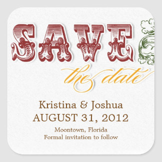 save the date vintage colorful artistic stickers