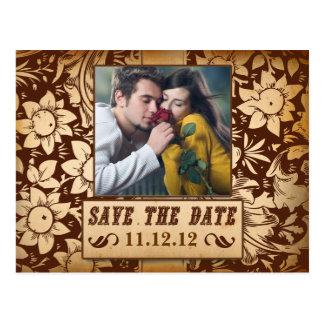 save the date vintage damask floral photo postcard