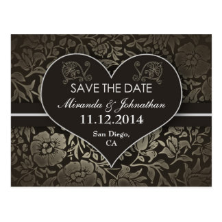 save the date vintage damask love heart post cards