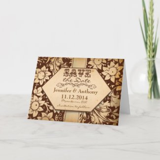save the date vintage damask unique brown card