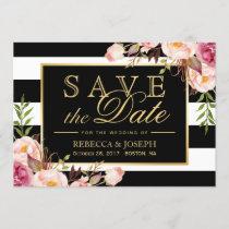Save the Date - Vintage Floral Black White Stripes