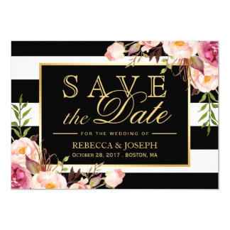 Save the Date - Vintage Floral Black White Stripes Card
