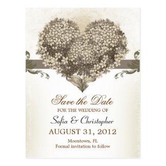 save the date vintage floral hearts postcards