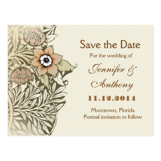 save the date  vintage flowers cards post card