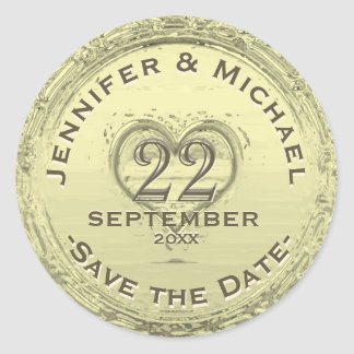 Save the Date - Vintage Foil Look Classic Round Sticker