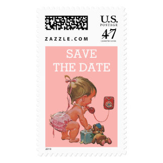 Save The Date Vintage Girl on Phone Baby Shower Postage