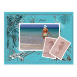 Save the Date Vintage Map Collage TurquoiseFrame Postcard