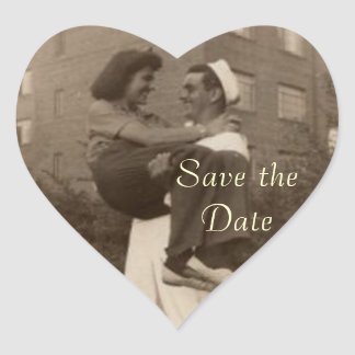 Save the Date Vintage Military Wedding Heart Sticker