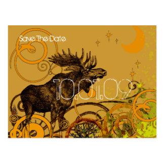 Save the Date- Vintage Moose - Darker Postcard
