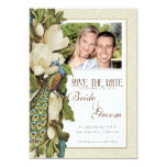 Save the Date - Vintage Peacock & Magnolia Swirls Personalized Announcements