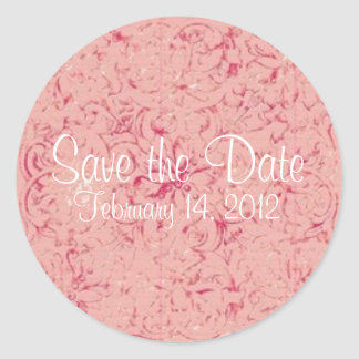 Save the Date Vintage Pink Customizable Sticker Round Sticker