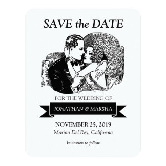"""Save the Date Vintage Retro Great Gatsby Style 20s 4.25"""" X 5.5"""" Invitation Card"""