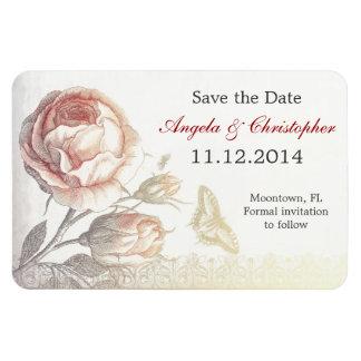 save the date vintage rose magnets