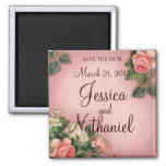 Save the Date Vintage Roses 2 Inch Square Magnet