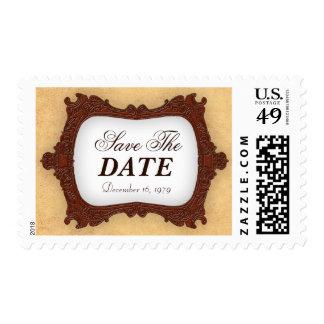 Save the date vintage rustic brown Wedding Postage