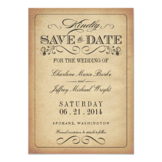 Save the Date - Vintage Rustic Parchment Personalized Invitations