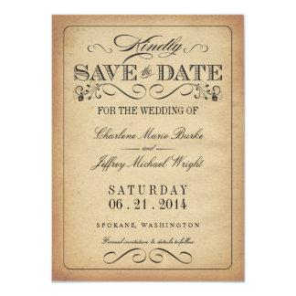 Save the Date - Vintage Rustic Parchment 4.5x6.25 Paper Invitation Card