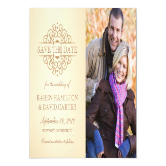 Save the Date Vintage Scrolls Engagement Photo Magnetic Card
