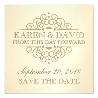 Save the Date Vintage Scrolls Wedding Reminder Magnetic Card