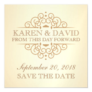 Save the Date Vintage Scrolls Wedding Reminder Magnetic Invitations