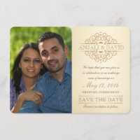 Save the Date Vintage Scrolls with Photo