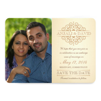 """Save the Date Vintage Scrolls with Photo 4.5"""" X 6.25"""" Invitation Card"""