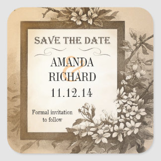 save the date vintage stickers